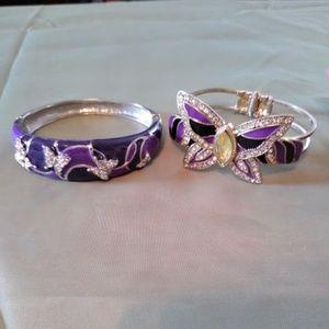 Two Purple Butterfly Bangle Bracelets One Price